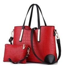 2019 Luxury Crocodile Big Composite Women Handbag Famous Brand Design Bucket Tote Solid Fashion Shoulder Bag Elegant Lady DXF02 elegant solid colour and metal design womne s tote bag