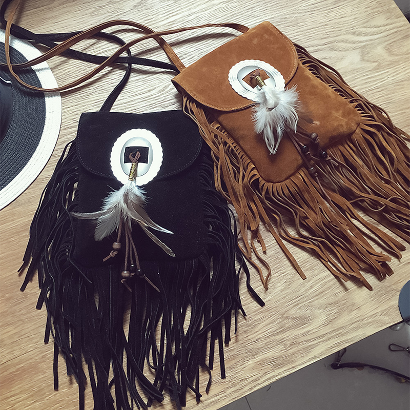 New Vintage Ethnic Style Messenger Handbags Tassel Envelope Clutch Wallet Zipper Purse Leather Shoulder Bag Feathers Saddle Bags
