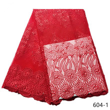 5Yards red 2019 Lowest French Nigeria Laces Fabrics High Quality Tulle African Lace Fabric Wedding 604