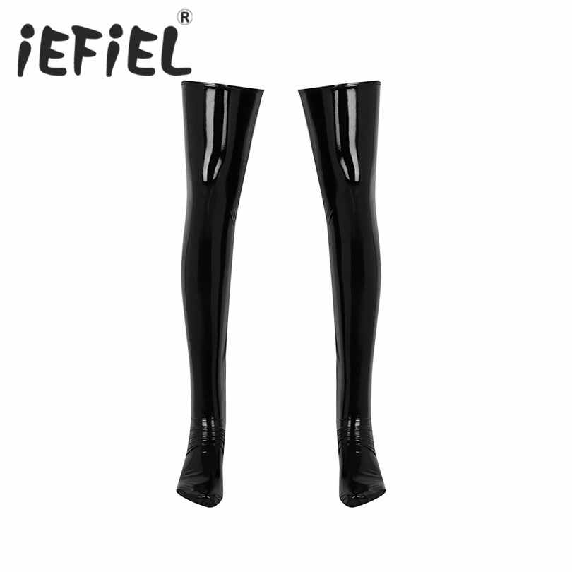 IEFiEL Mens Sexy Anti-skid Weiche Elastizität Wetlook Patent Leder Oberschenkel Hohe Strümpfe Footed Clubwear Kostüm Cosplay Socken