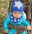 Venta al por menor y al por mayor Nuevo estilo estrella hermoso sombrero del bebé bufanda de algodón para bebé sombreros niño fijó tapas bufanda casquillo del bebé