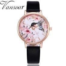 Vansvar Brand Women Flower Bird Watch Rose Gold Leather Creative Wristwatches Casual Women Dress Ladies Quartz Clock недорого