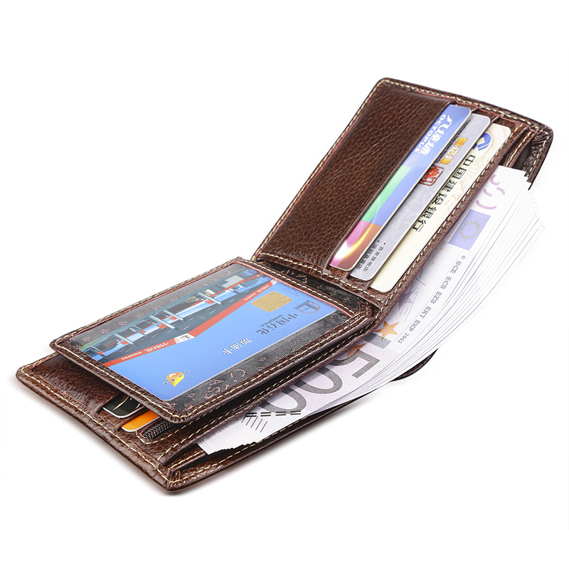 Brown Litchi Pattern Cowhide Real Genuine Leather Wallet Men Bifold Clutch Coin Short Purse Pouch ID Card Dollar Holder For Gift maifeini new genuine leather long wallet women real leather card holder coin purse 2017 sexy ladies bifold leather clutch bag