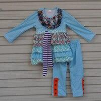 סתיו חורף כותנה בגדי תינוקות פעוט בנות תלבושות לפרוע כחול טי ילד צועד בגדי ילדי סטים עם חגורת בוטיק F104