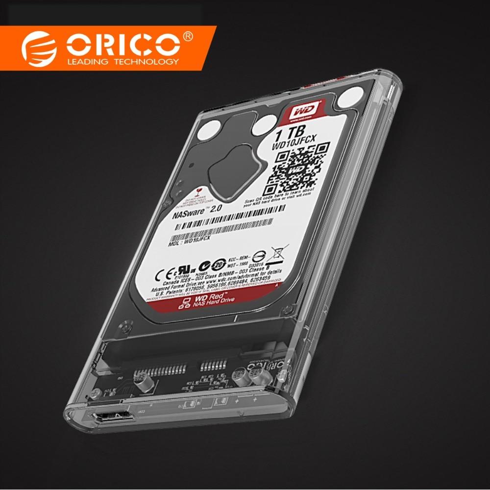 """ORICO 2.5 """"שקוף Sata3.0 ל USB3.0 HDD מקרה כלי חינם HDD מארז כונן קשיח חיצוני תיבת עבור סמסונג Seagate SSD 2139U3"""