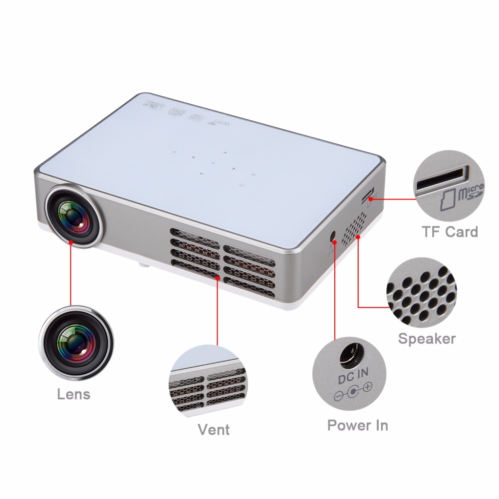Excelvan LED9 Portable WiFi Mini Projector Android4.4 LED DLP Projector With  ( (10)