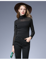 Woman Autumn Turtleneck Black Mesh All Match Basic Tops T shirts Plus Size 2018 Woman Big Long Sleeve Pullover Tops Femme