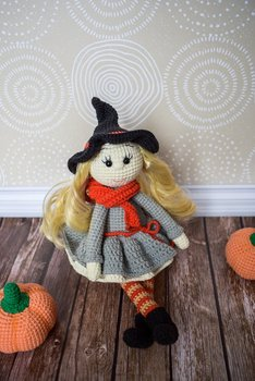 crochet toys  amigurumi  rattle  witch girl lovely with gray dress