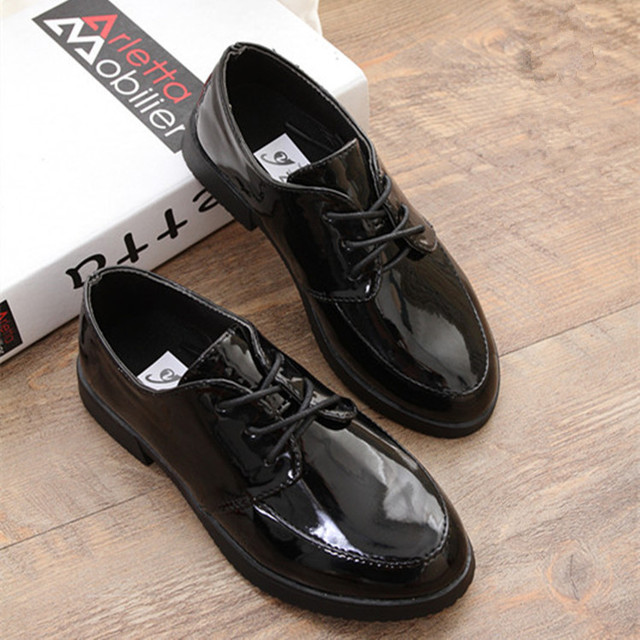 2017 Girls Shoes For Children Patent Leather Shoes Boys Student School Shoes Black Single Shoes Kids