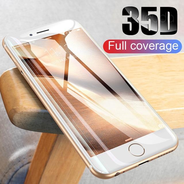 35D Curvo Borda Completa Capa Protetora de Vidro No Para O iPhone 7 8 6 6 S Plus Protetor de Tela Temperado para X XR XS Max Filme Vidro