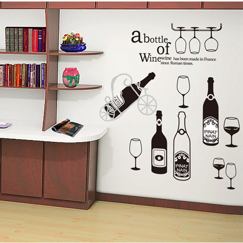 Online buy wholesale wine kitchen decor from china wine for Kitchen cabinets lowes with modern wall art stickers
