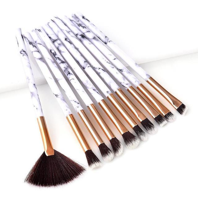 9fa7553cba1 10Pcs Professional Make Up Brush Set Marble Makeup Brushes Mini Fan-shaped  Foundation Powder Eyebrow Eye Shadow Brush Set