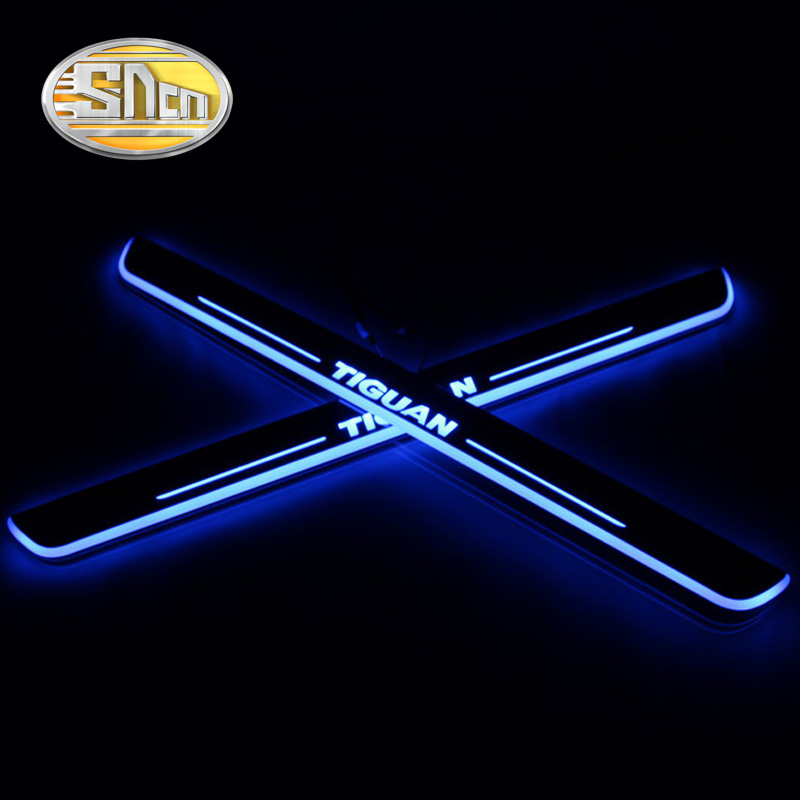 4PCS Car LED Door Sill For Volkswagen Tiguan 2010 2018 2019 Ultra thin Acrylic Dynamic LED