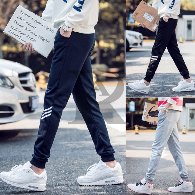2017 AR fashion new Men's trousers joggers hip fitness pantalon homme casual pant  sweatpants M-5XL full size 4 color Three line