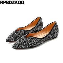 dress large size glitter slip on designer 42 chinese autumn spring bling  sequins single shoes women 10 pointed toe flats black 6be522c5e597