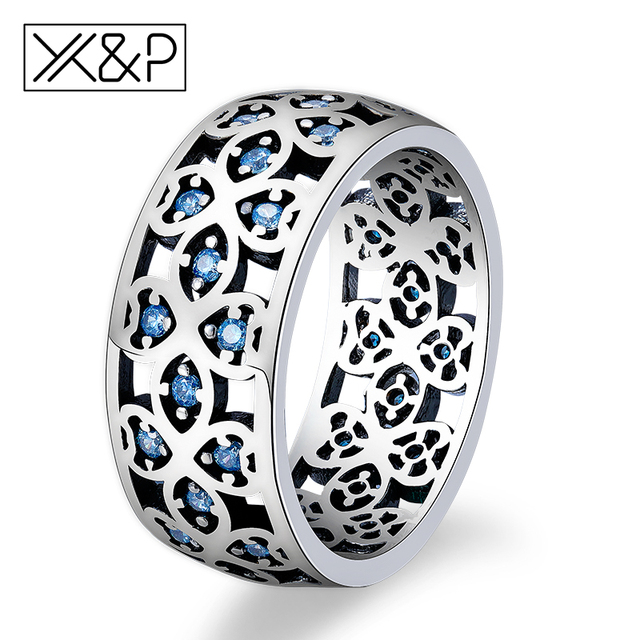 X&P Fashion Charm 925 Silver Crystal Finger Rings for Women Girl Engagement Peta