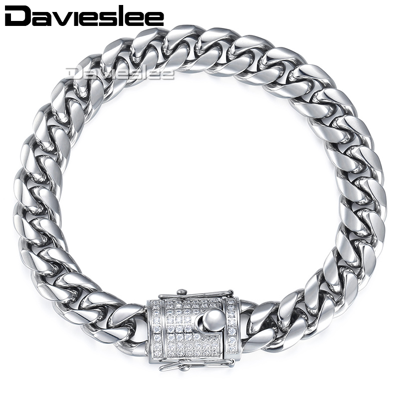 цены Davieslee Mens Bracelet Chain Miami Curb 316L Stainless Steel Iced Out Cubic Zirconia CZ Gold Silver Color 12/14mm 9inch LHBM113