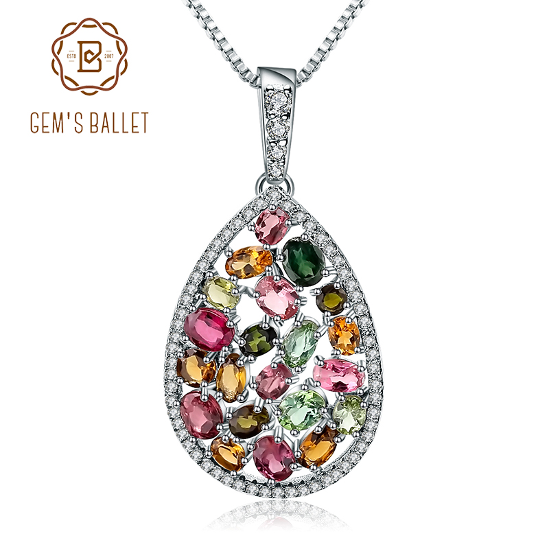 Gem s Ballet 925 Sterling Silver 5 57Ct Colorful Natural Tourmaline Gemstone Necklaces pendants Fine Jewelry
