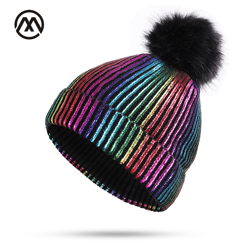 Autumn and winter new bright crystal knit cotton hats unisex warm and  comfortable ladies and men caps fashion fur pom pom beanie-in Skullies    Beanies from ... a6bbdbe6ccd