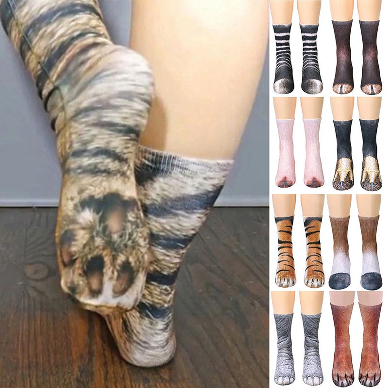 Harajuku Kawaii Cotton Funny Dog Horse Pig Cat Paw Print Socks Children Kid 3D Animal Paw Crew Socks