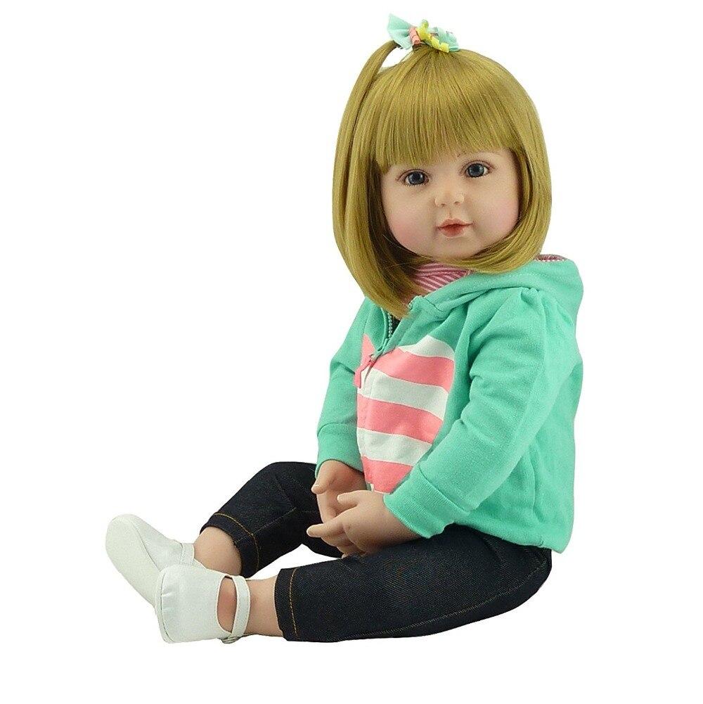 Novo cabelo Loiro 47/60 centímetros boneca reborn silicone renascer baby dolls com corpo de silicone bonecas de menina bebê crianças de aniversário presente de Natal