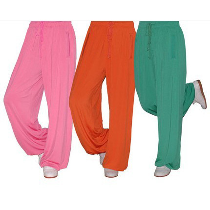 [Теплый] лотос росы трикотажные ткани утренний костюм брюки брюки Тайцзи боевых искусств акробатики 8 цветов мужчин и женщин