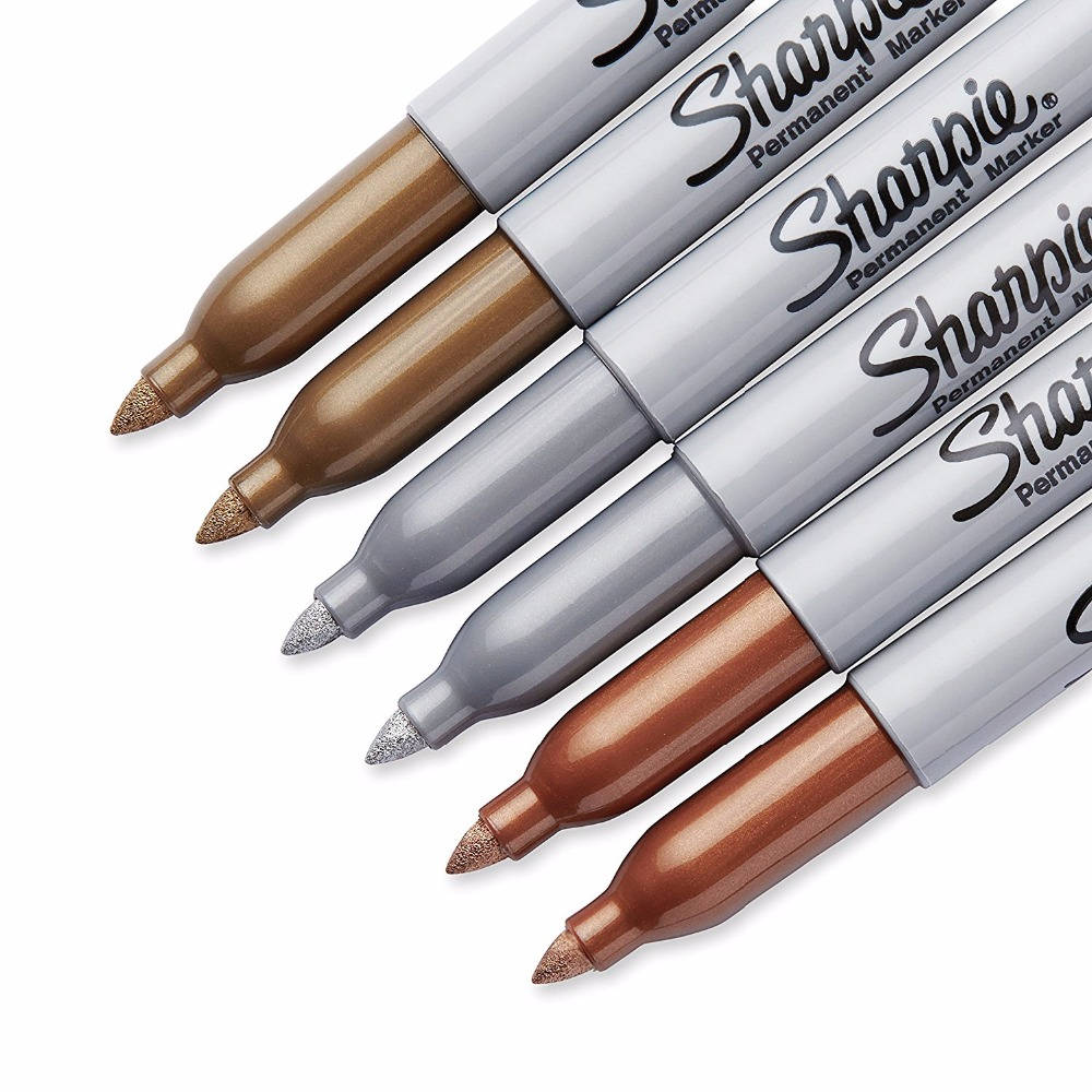 Sharpie 1.0mm Silver Gold Bronze Fine Point Oil Metallic Permanent Markers Write On Light and Dark Surface Paper Metal Glass цена