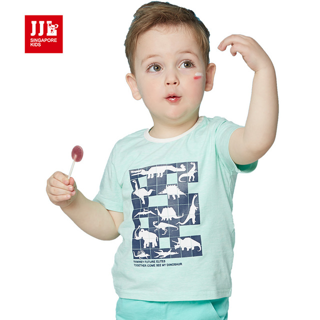 retail baby boys t shirt dinosaur unisex baby t-shirts animal print infant clothes summer baby tops short sleeve 2016 new sale