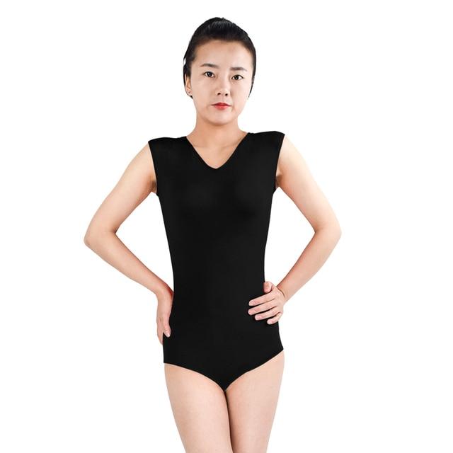 Ensnovo Femmes De Danse Justaucorps Body Noir Sans Manches Ballet Costumes  Gymnastique Justaucorps Nylon Spandex Body 8a7bf482b25