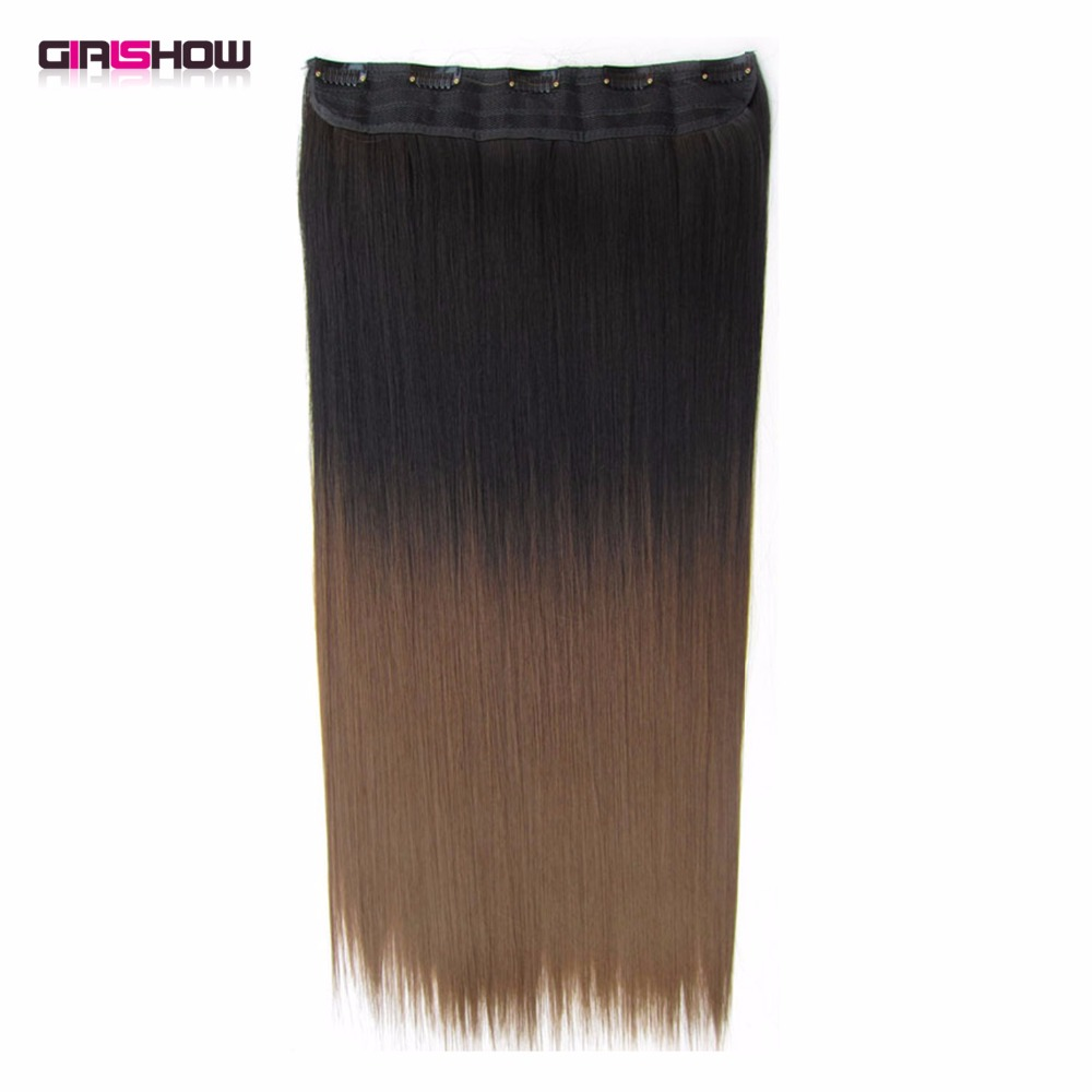 Girlshow Clip In On Synthetic Dip Dye Ombre Hairpieces Two Tone Straight Slice Hair Extension 36 Kinds Of Colours,130g,60cm 1pc Hair Extensions & Wigs