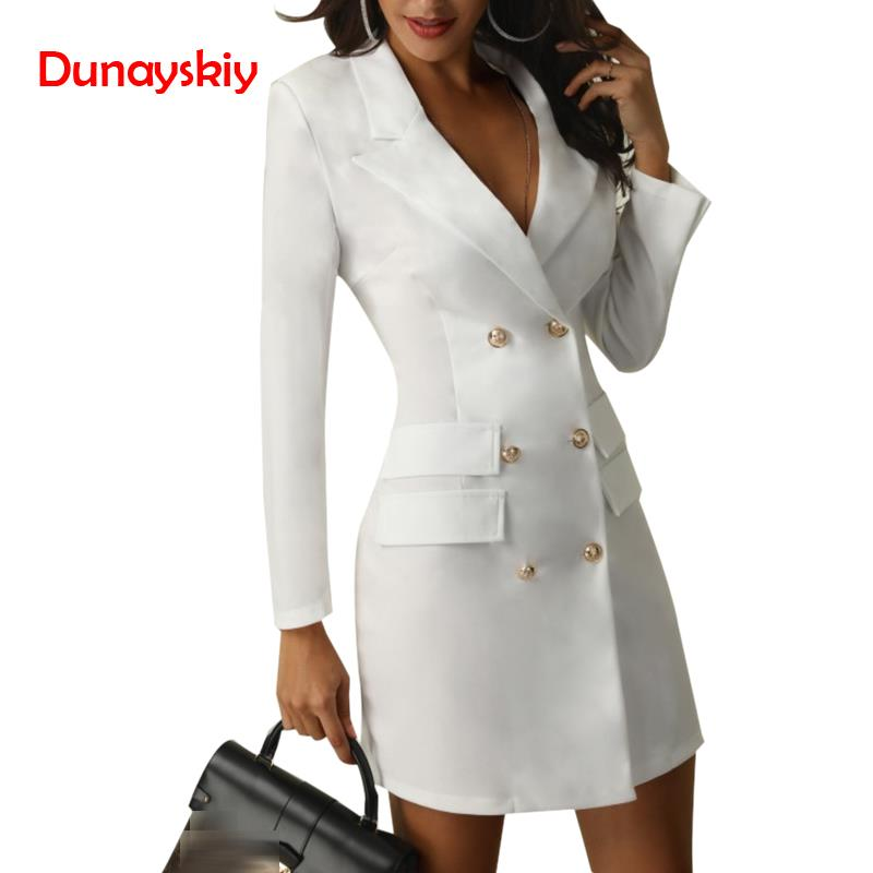 Have An Inquiring Mind Elegant Fashion Dresses Women Dress Office Casual Blazer White Black Dress 2019 Spring Winter Ladies Dresses Slim Suit Warm And Windproof Dresses