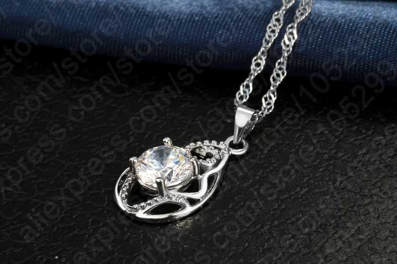Factory Price 925 Sterling Silver Waterdrop Cubic Zircon Pendants Necklaces Set Women Crystal Bridal Wedding Jewelry Sets