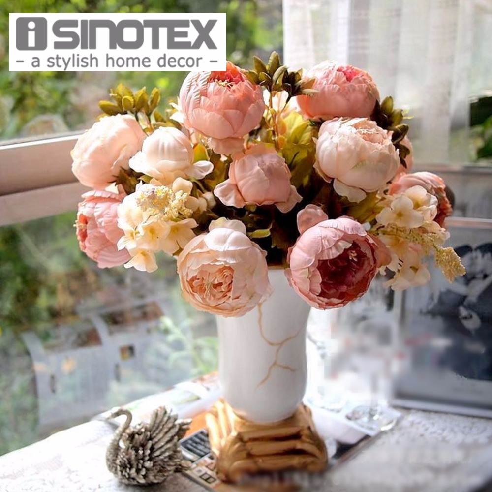 Artificial flowers for decoration peony silk decorative for Artificial flowers decoration for home
