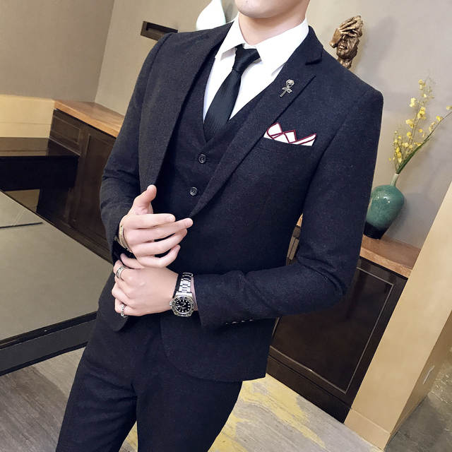 c4118c49887 placeholder Designers Wool Suits 3 Piece Suit Men Black Slim Vingtage Suit  Wedding Dress Business Acostume Homme