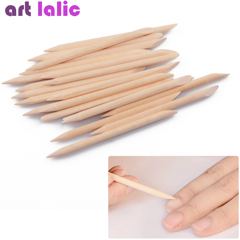 50 Pcs Nail Art Orange Wood Stick Cuticle Pusher Remover Sticks Double Ended Dead Skin Removal Manicure Care Tool