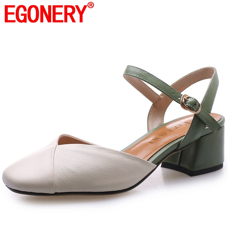 EGONERY office genuine cow leather woman mary janes pumps fashion summer pigskin insole 4 5cm med