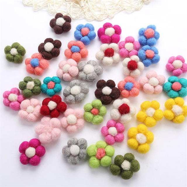 Wool Needle Felt Flower Handmade Wool Flower For DIY Fashion Jewelry Hair Garment Accessories Multi Colors 1PC