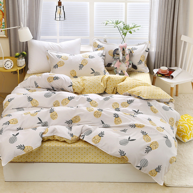 2019 New Duvet Cover Set 3/ 4pcs Bed Set AB Side Bedding Set Bird Flat Sheet Flower Bedclothes Pinealppe Home Bedding Bed Linens