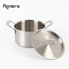 Agniers 20cm Stainless steel Stock Pot with steel cover Multi-Ply Clad Soup Pot with lid(China)