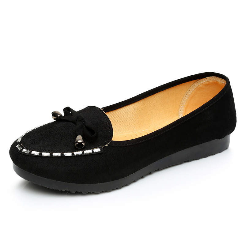 46288456c0f8f2 Hot-selling rhinestone flats pointed toe single shoes female shallow mouth  low casual black women s flat heel shoes size35~41