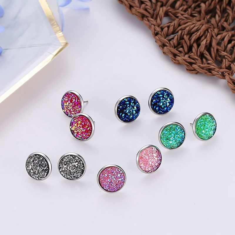 10 Colors Fashion Earrings Jewlery With Silver Plated Mermaid Shaped Fish Scale Shaped Stud Earring For Women Party Gift
