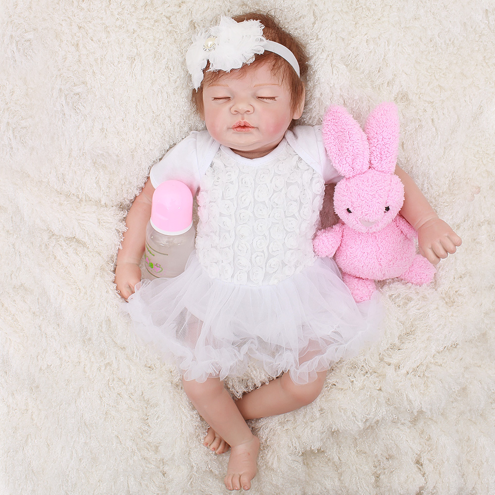 Rebor girl doll white dress silicone baby dolls toys for child gift 20 48cm soft cloth