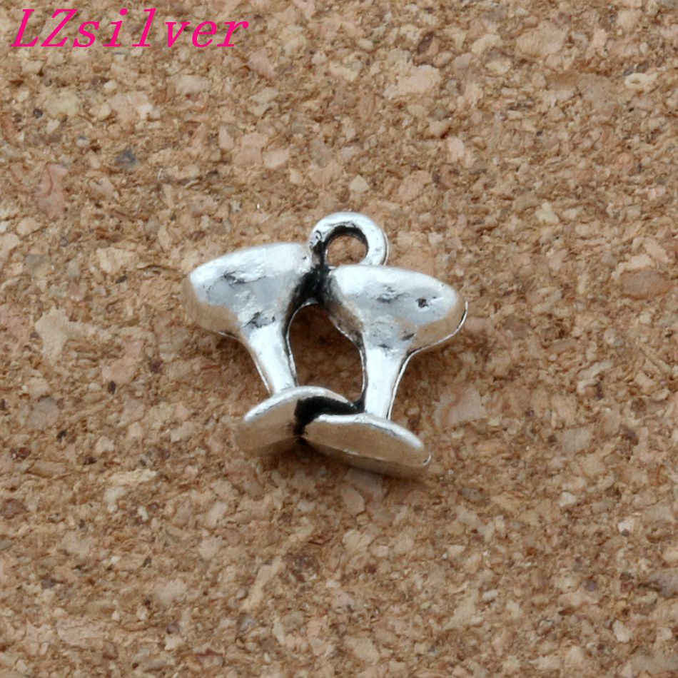 100pcs Antiqued Silver Alloy Champagne Wine Glasses Charms Pendants 12x11.5mm DIY Jewelry A-146