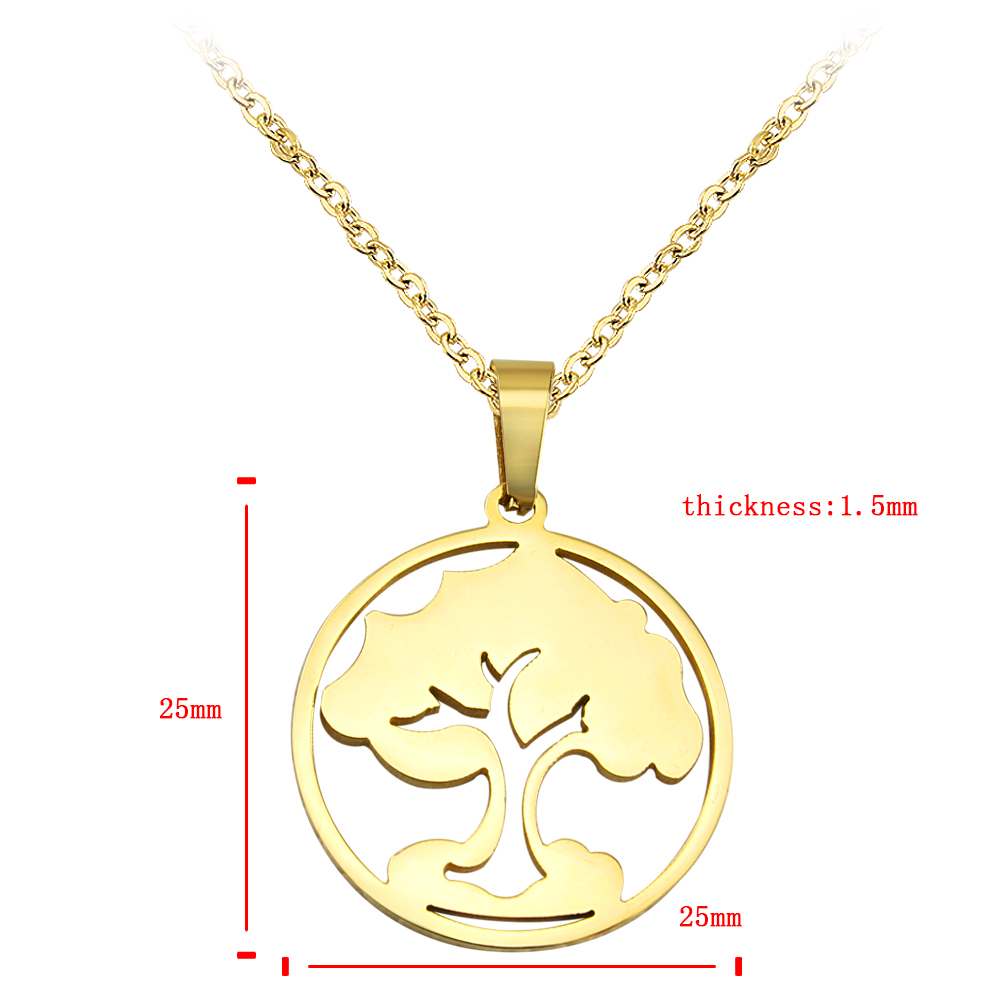Tree of life gold necklace women stainless steel necklaces pendants