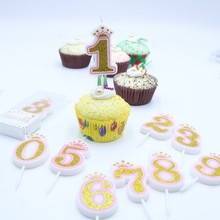 Shinning Gold Pink/Blue Crown Digital 0-9 Birthday Candles Large Cake Numbers Candle Decoration Cute Kids Party