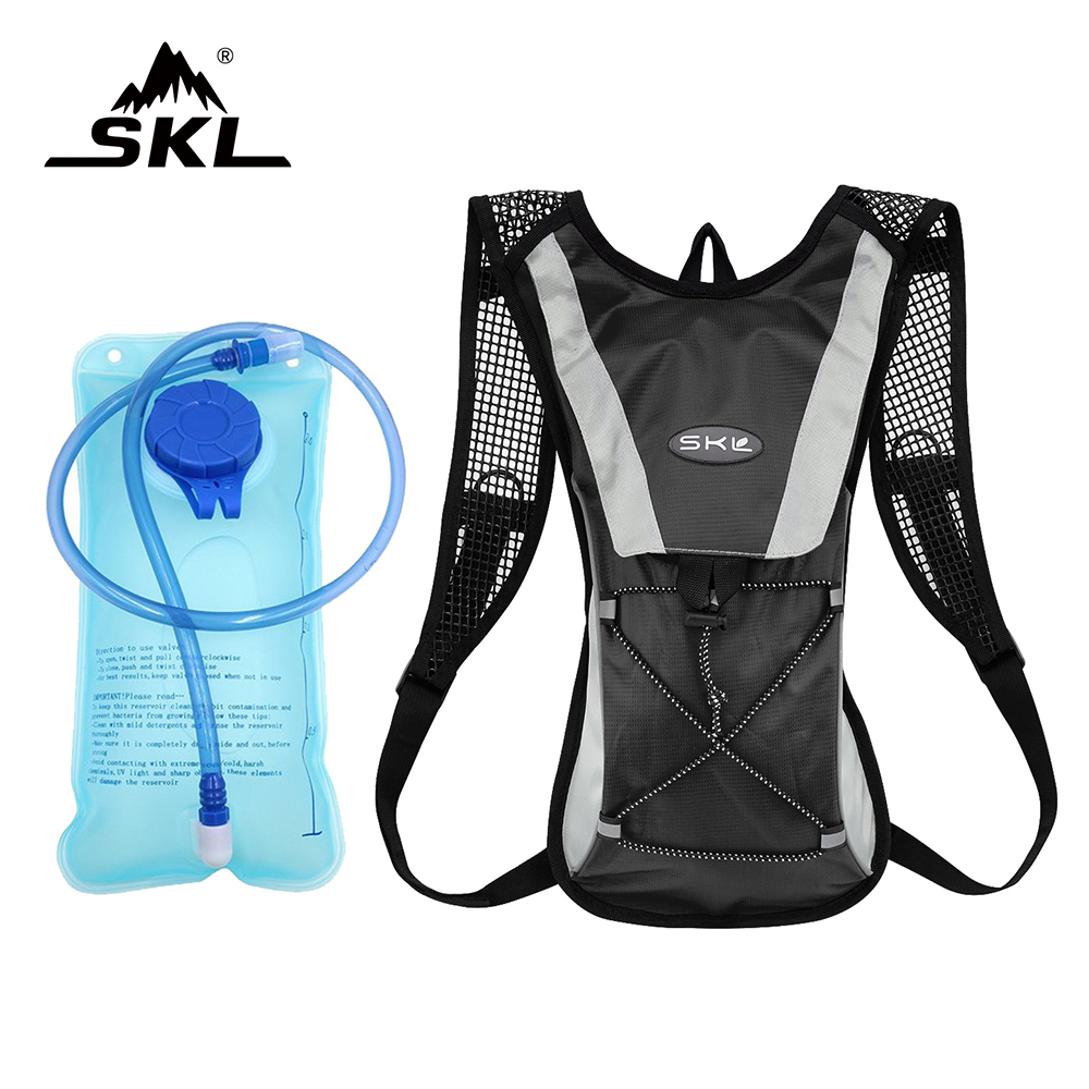 SKL Outdoor Lightweight Multifunction Sport Climbing Hydration Backpack With 2L 2 Liter Water Bladder Hiking Running Water Bag