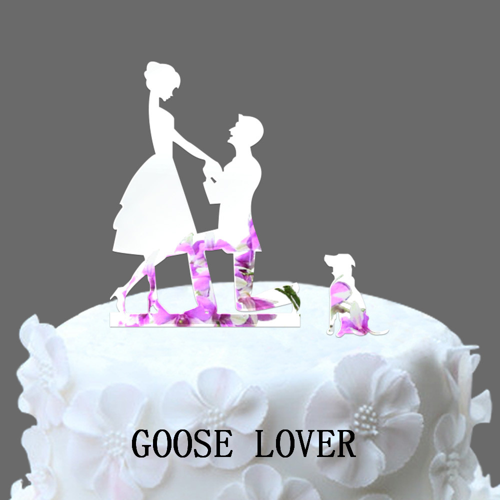 With Dog Wedding Cake Topper Silhouette Bride Groom Pet Family Of 3 Accessories Funny Decoration In Decorating Supplies From Home