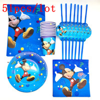 Mickey Theme 51PC Lot Kids Favors Paper Cup Plates Baby Shower Glass Decoration Tablecloth Napkins Birthday