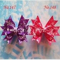 36pcs Free Shipping Grosgrain Ribbon 3.5 Snowflake With Clip Hair Accessories Retail Wholesale Fashion Boutique Hair