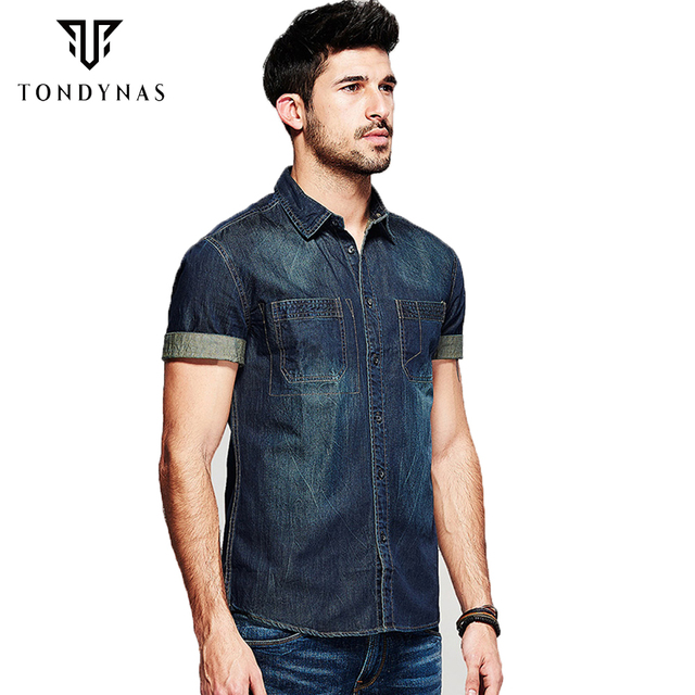 e6c706e523 Moda Jean Camisas Cortas de los hombres